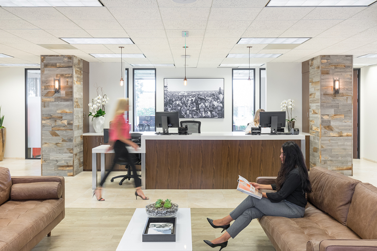 Open office space with reception area.