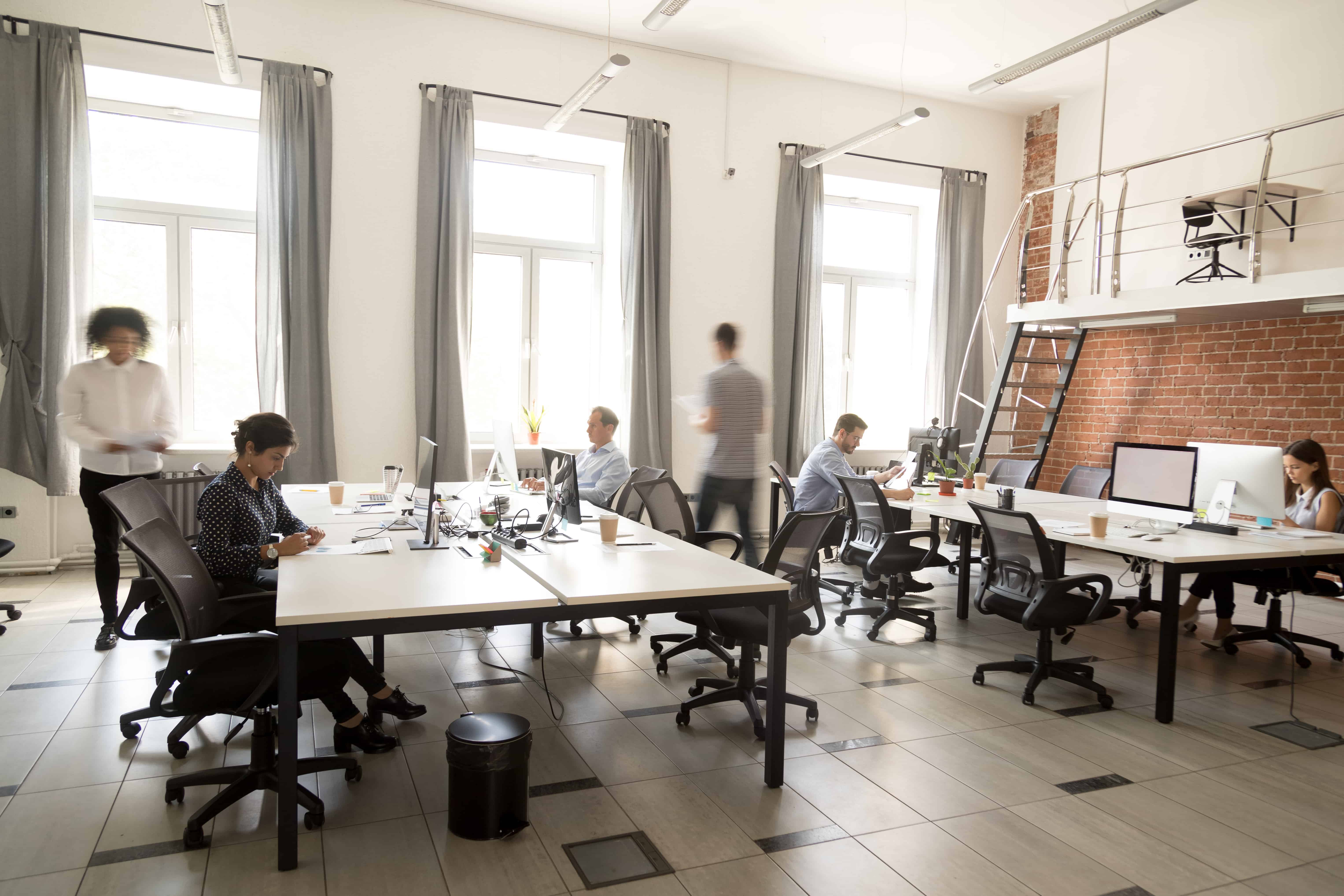 Employees in office space