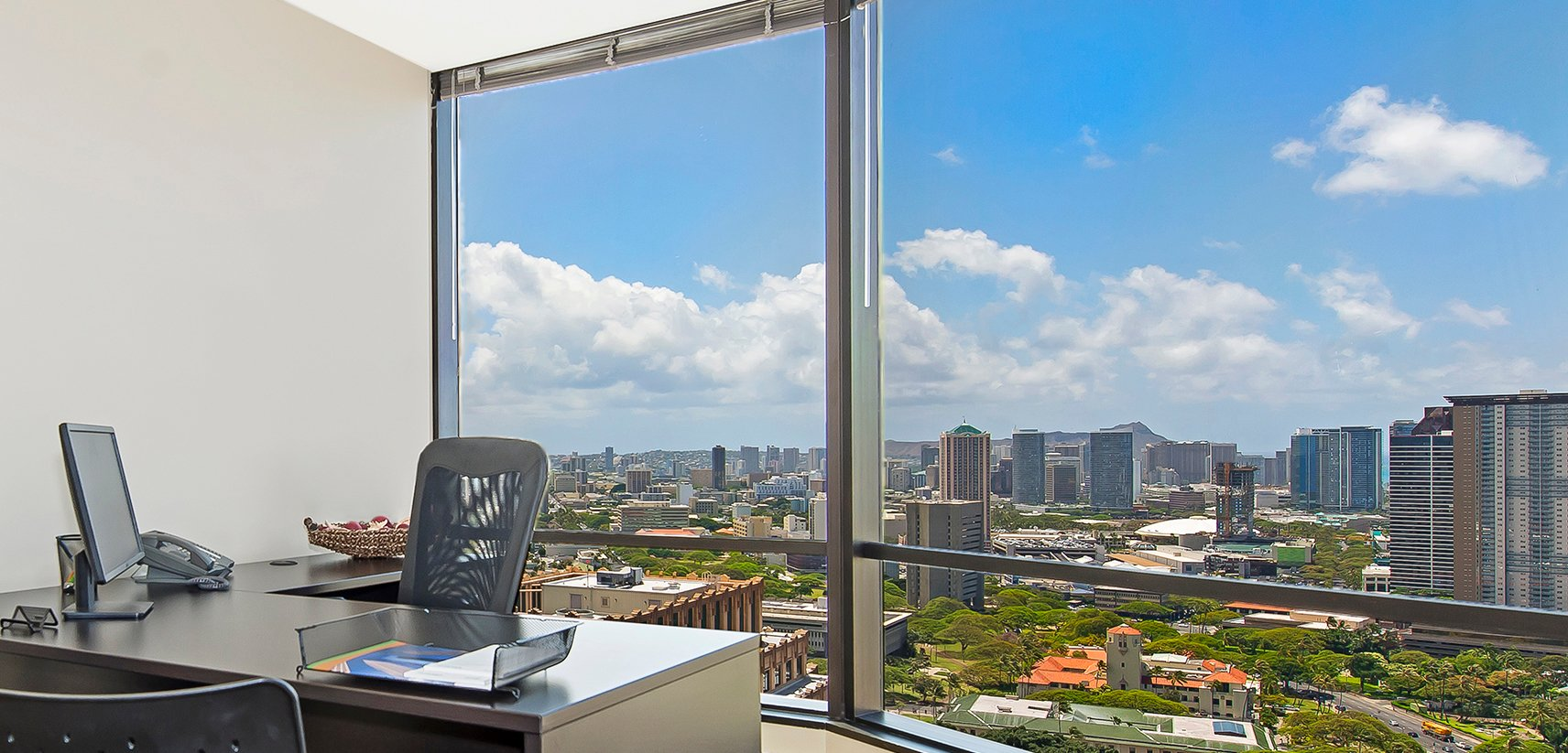 Private office space with view of city